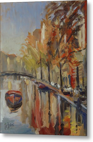 Amsterdam Autumn With Boat Metal Print