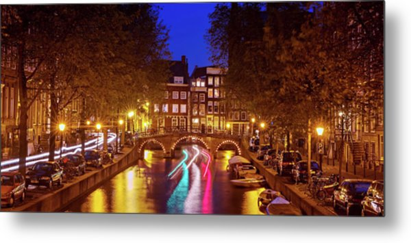 Metal Print featuring the photograph Amsterdam By Night by Barry O Carroll