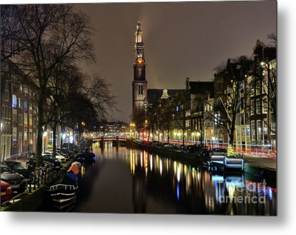 Amsterdam By Night - Prinsengracht Metal Print