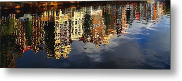Amsterdam Canal Reflection Metal Print