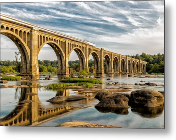 Amtrak Over The James Metal Print