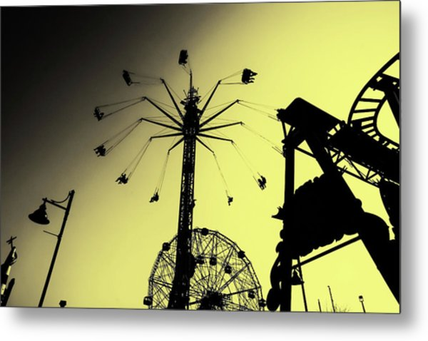 Amusements In Silhouette Metal Print
