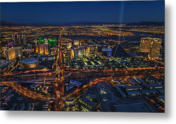 An Aerial View Of The Las Vegas Strip Metal Print