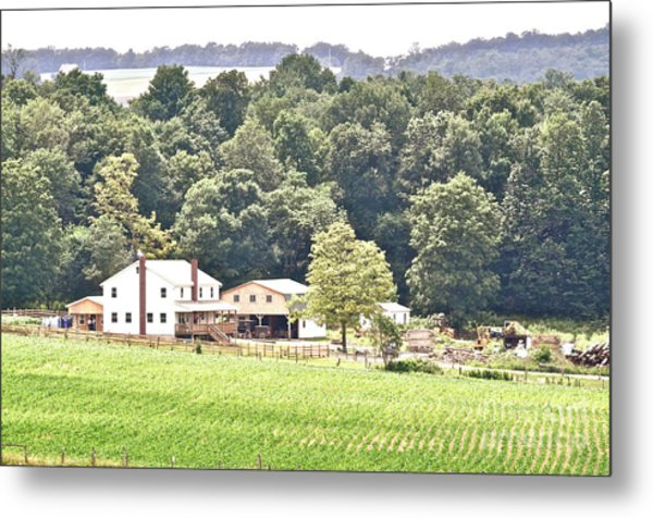 An Amish Farm Metal Print by Penny Neimiller