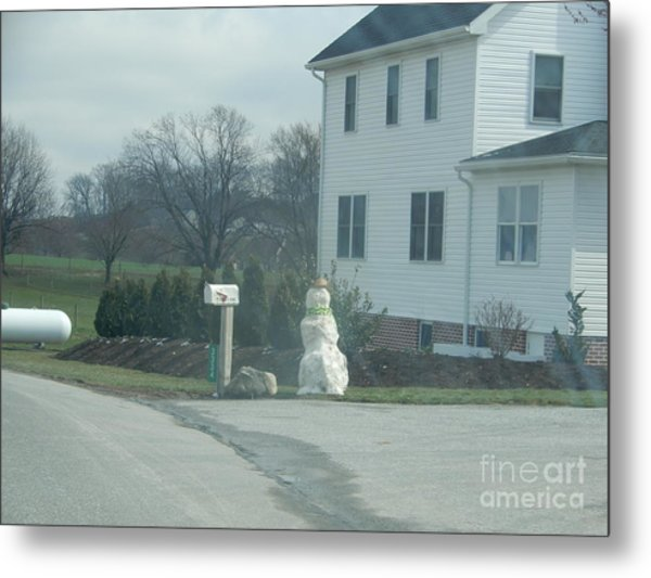 An Amish Snowman Metal Print