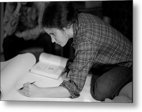 An Artist Draws In Pen And Ink, 1972 Metal Print