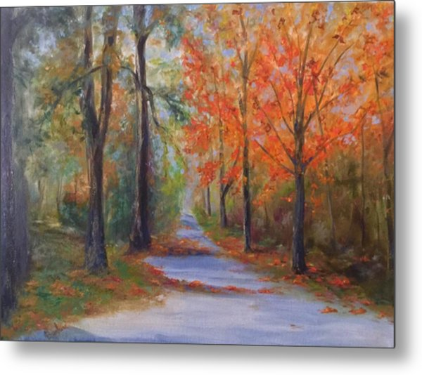 An Autumn Drive Metal Print