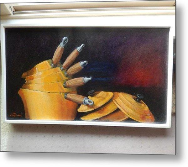 An English Kitchen Yellow Pots Metal Print by Ron Wilson