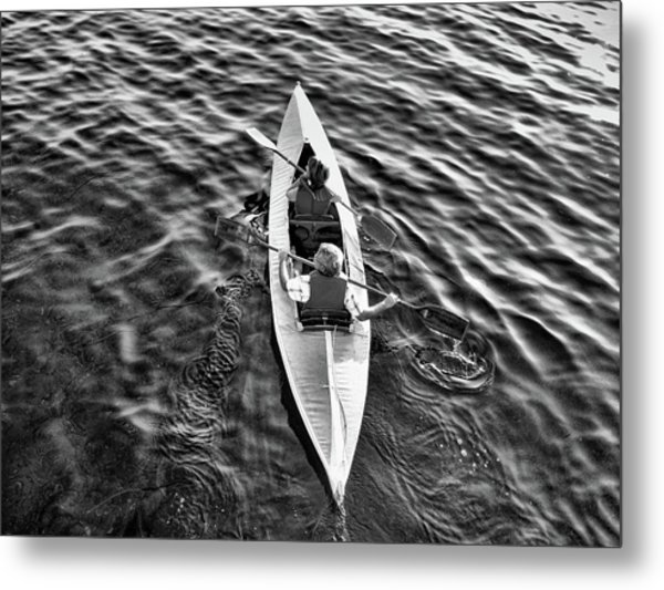 An Evening Row Bandw Metal Print