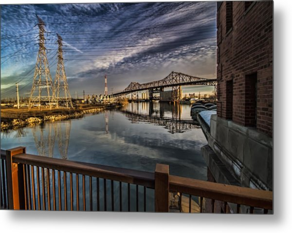 an Industrial river scene Metal Print