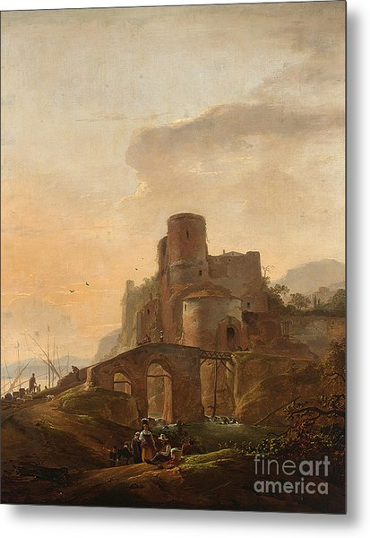 An Italianate Landscape With A Bridge Metal Print