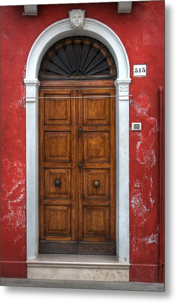 an old wooden door in Italy Metal Print