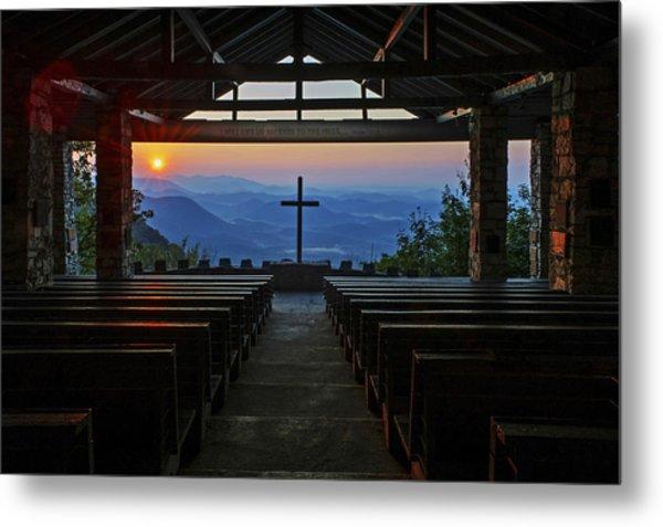 An Outdoor Mountain Chapel   Symmes Chapel Aka Pretty Place  Greenville Sc Metal Print
