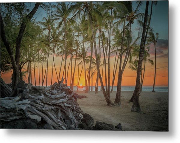 Metal Print featuring the photograph Anaehoomalu Beach Sunset by Susan Rissi Tregoning