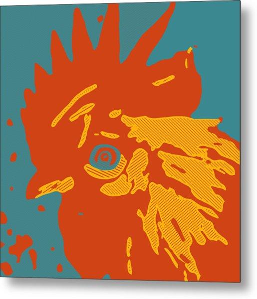 Analog Rooster Rocks Metal Print