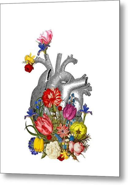Anatomical Heart With Colorful Flowers Metal Print