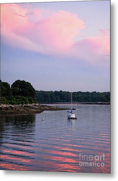 Anchored At Peaks Island, Maine  -07828 Metal Print