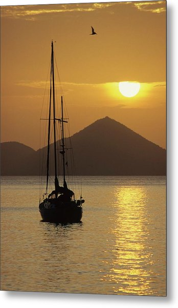 Anchored Ketch And Sunset Over Caribbean Metal Print