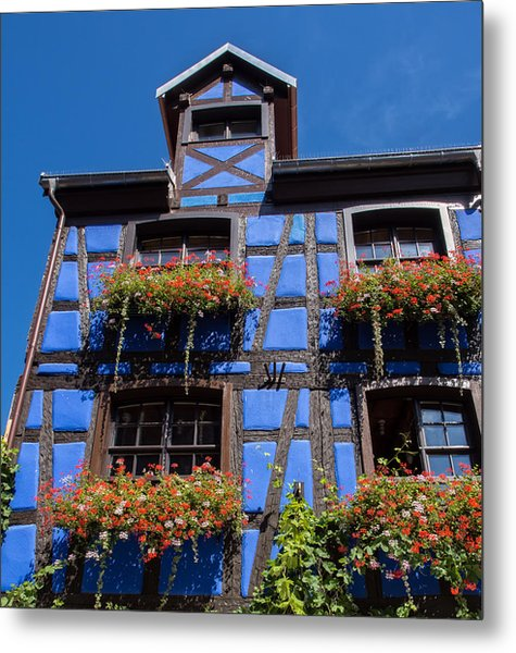 Ancient Alsace Auberge In Blue Metal Print