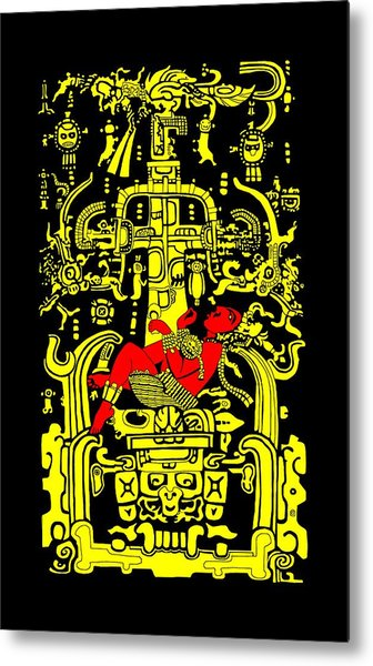 Ancient Astronaut Yellow And Red Version Metal Print