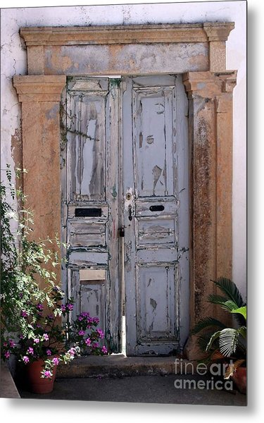 Ancient Garden Doors In Greece Metal Print