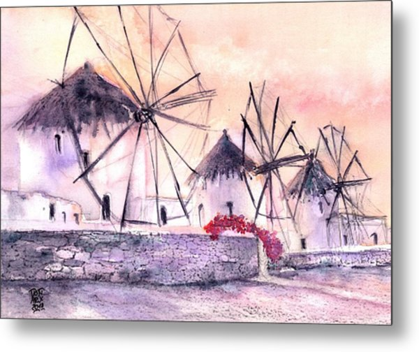 Ancient Windmills Of Mykonos Greece Metal Print