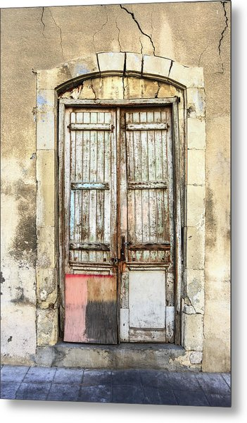 Ancient Wooden Door In Old Town. Limassol. Cyprus Metal Print