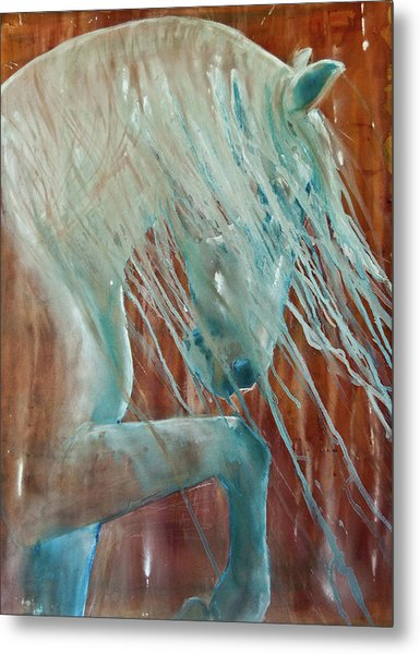 Metal Print featuring the painting Andalusian Stallion by Jani Freimann
