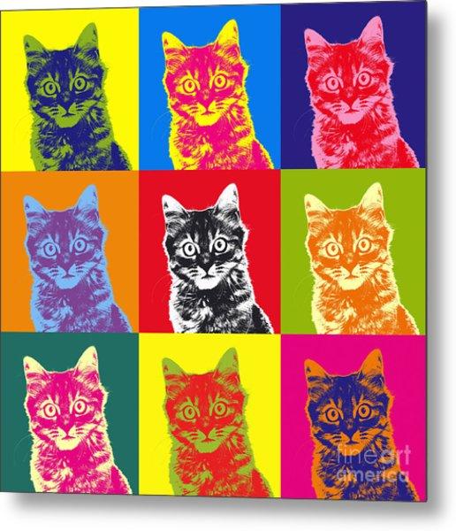 Andy Warhol Cat Metal Print