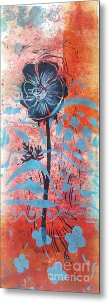 Anemone In Orange And Blue Metal Print