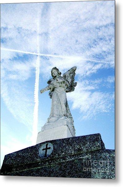 Angel And Crosses Metal Print