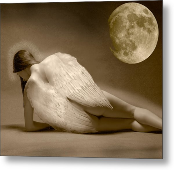 Angel And Moon Metal Print by Gustavo Fortunatto