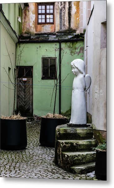 Angel In Courtyard Metal Print