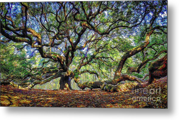 Angel Oak In Digital Oils Metal Print