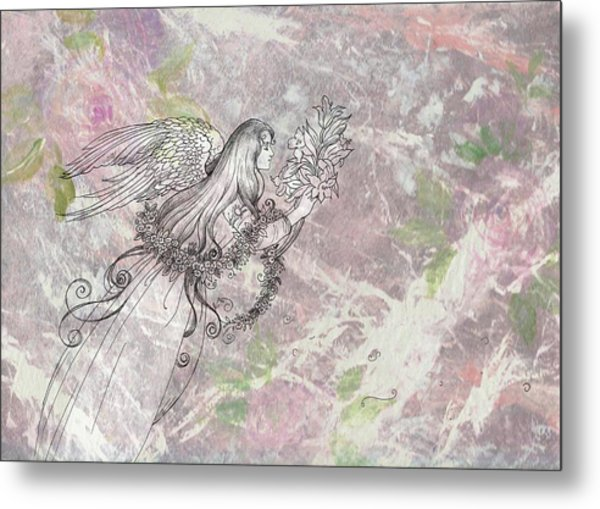Angel On Pink And Green Florals Metal Print