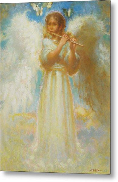 Angel Playing Flute Metal Print by John Murdoch