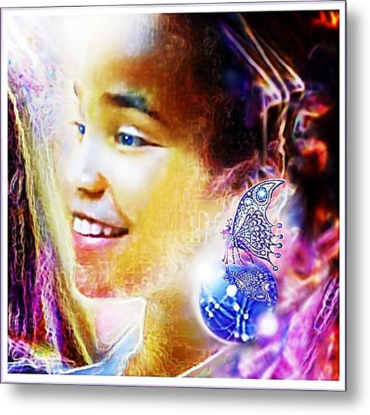 Metal Print featuring the painting Angel Smile by Hartmut Jager