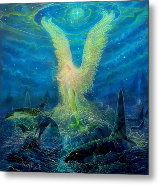 Angel Tarot Card Mermaid Angel Metal Print by Steve Roberts
