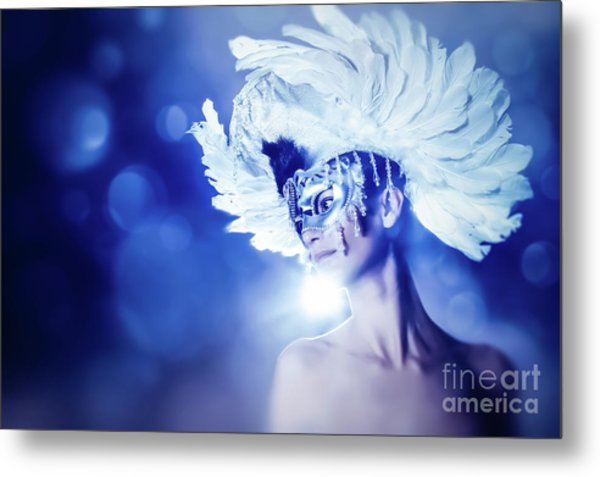Metal Print featuring the photograph Angel Wings Venetian Mask With Feathers Portrait by Dimitar Hristov