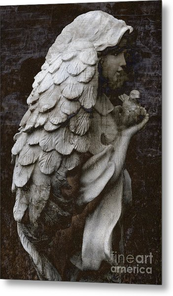 Angel With Dove Of Peace - Angel Art Textured Print Metal Print