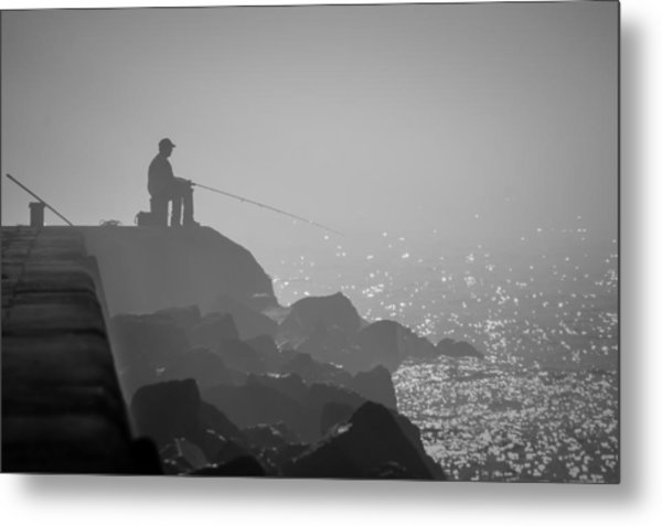 Angling In A Fog  Metal Print