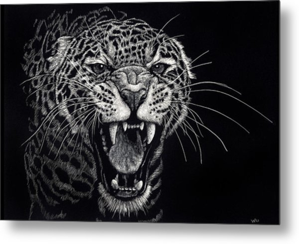 Angry Leopard Metal Print