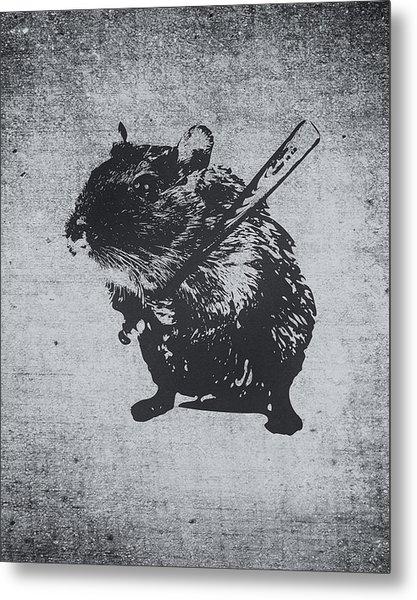 Angry Street Art Mouse  Hamster Baseball Edit  Metal Print