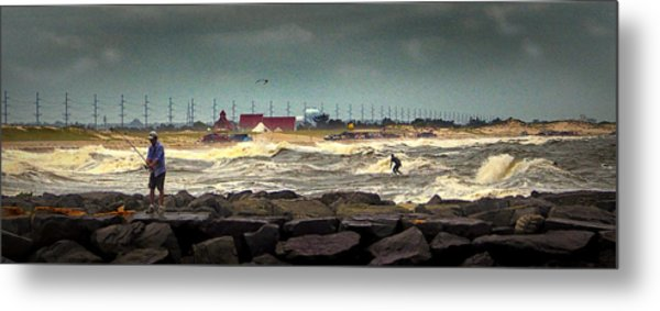 Angry Surf At Indian River Inlet Metal Print