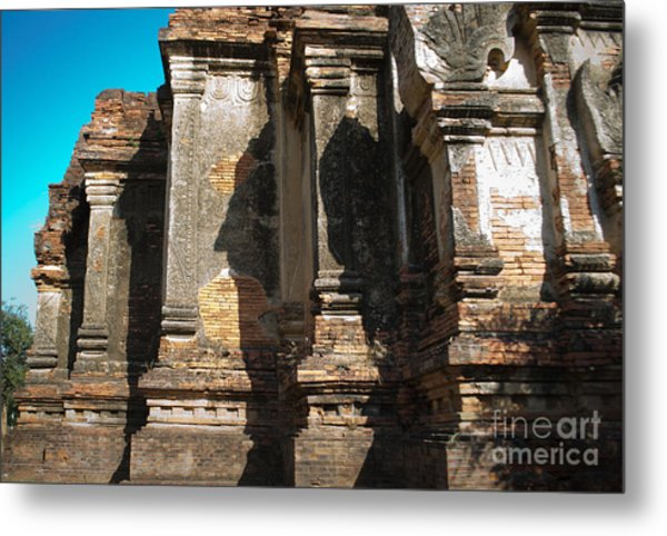 Angular Corner Of Temple In Burma With Sunny Blue Sky Metal Print