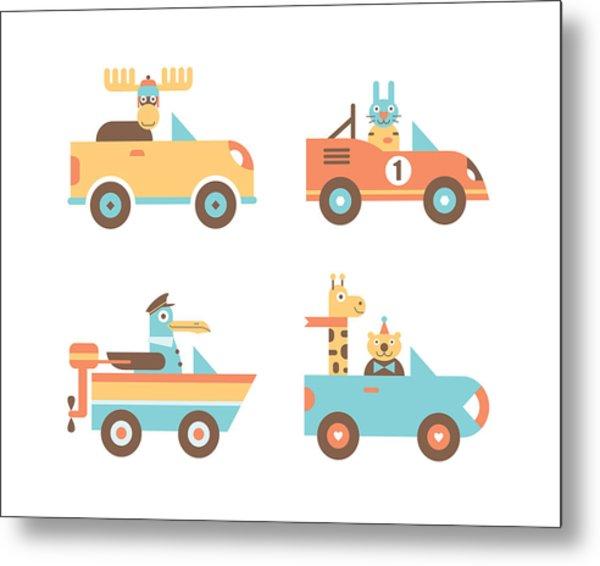 Animal Cars Metal Print