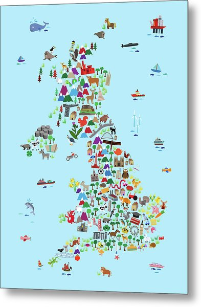 Animal Map Of Great Britain And Ni For Children And Kids Metal Print