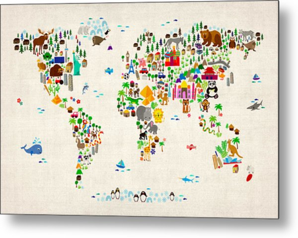Animal Map Of The World For Children And Kids Metal Print