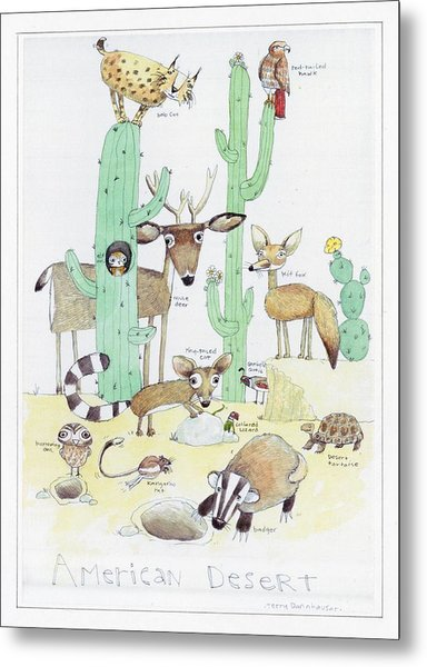 Animals With Cacti In Desert - F Metal Print