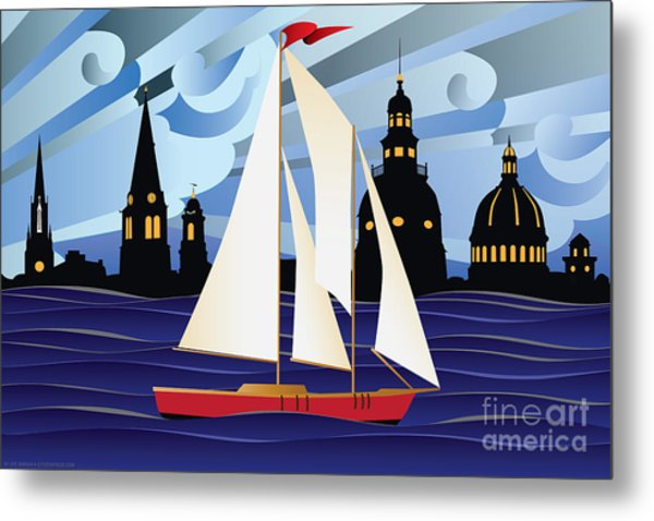 Annapolis Skyline Red Sail Boat Metal Print